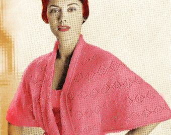 Almost FREE Vintage 1950s Capelet Lace Wrap Jacket with Buttoned Waistband 119  PDF Digital Knit Pattern