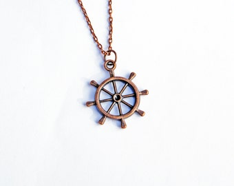 Ship Wheel Necklace, Nautical Necklace, Helm Necklace, Little Charm, Sailing Necklace, Beach Wedding