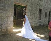 Organza Cathedral Length Wedding Veil 1 Tier Cord Edge