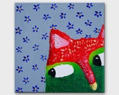 Funny cat portrait art on canvas Kitten illustration Kitty painting Original tiny lovely cat artwork by ARTBYASTA Nursery decor animal art - AstaArtwork