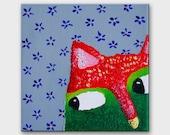 Funny painting Cat artwork Funny cat portrait art on canvas Kitty painting Original animal art by ARTBYASTA Nursery decor kitten