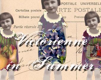 Digital Paper Doll - Victorienne in Summer - Digital Collage Sheet