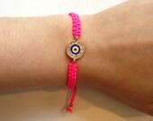 Adjustable Evil Eye Bracelet- Hot pink