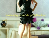 fashion royalty, barbie black outfit, leather shoes,purse