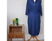 1940's Vintage blue day dress. Size small medium