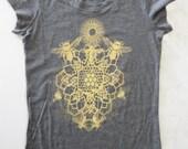 WOMEN'S XXL Bee Mandala Printed in Honey Yellow on a Gray Bella Soft 100% Cotton Slim Fit Screen Printed T-Shirt