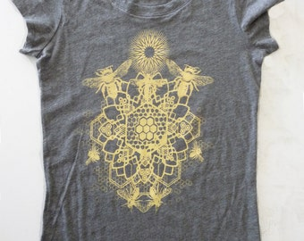 WOMEN'S XXL Bee Mandala Printed in Honey Yellow on a Gray Bella Soft 100% Cotton Slim Fit Screen Printed T-Shirt