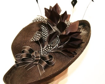 Kentucky Derby Hat, Easter Hat, Women's Chocolate Brown Straw Hat