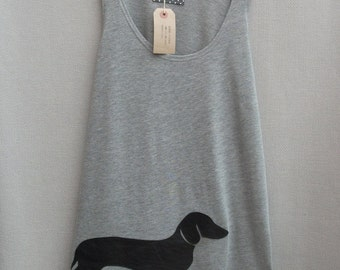 Women's Leather Dachshund Top Handmade Grey Cotton Tunic Vest Tank Singlet Top