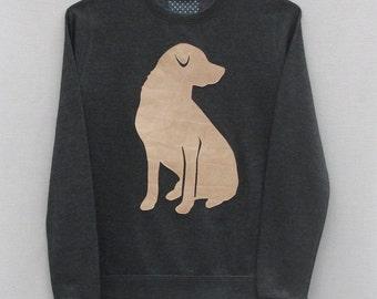 Leather Labrador Jumper Dark Grey Heather Lightweight Crew Neck Sweatshirt