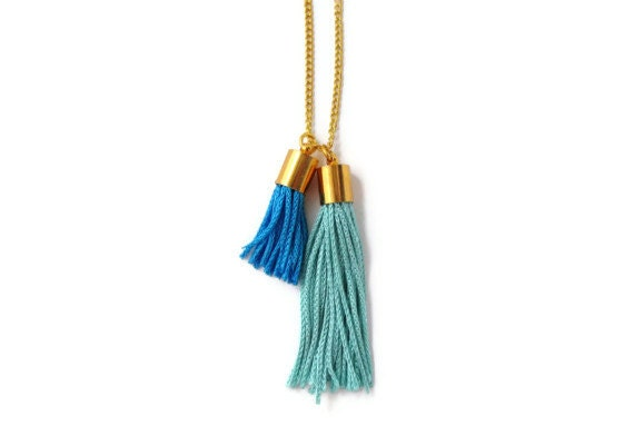 Mint and Turquoise Tassel Necklace