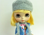 Grey Angora Hat and Scarf Set for Blythe Pullip Lati PukiFee Doll