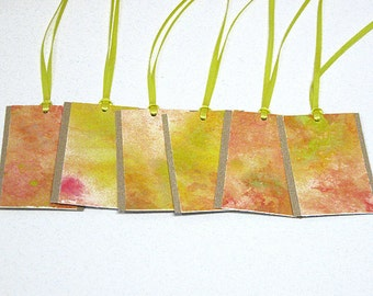 Hand-painted gift tags -- set of 6 yellow peach tags GT-12