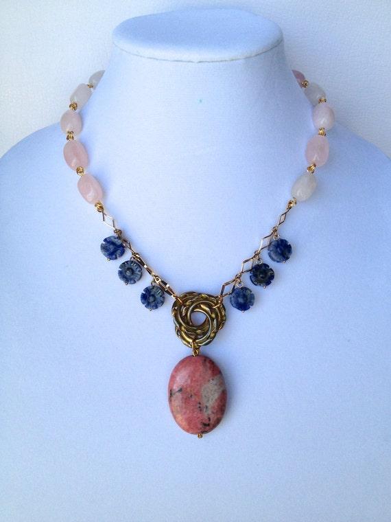 Statement Necklace with Cherry Quartz & Jasper