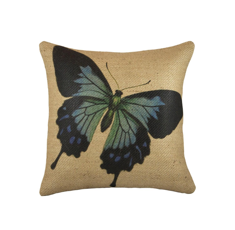 Throw Pillows With Butterfly : Burlap Butterfly Pillow Decorative Throw Pillow Blue