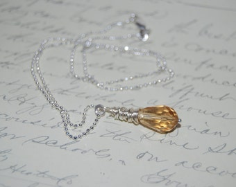 Silver Wire Wrapped Champagne Swarovski Crystal Necklace