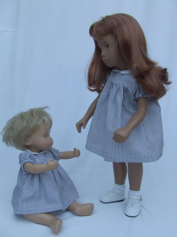 "Short sleeve Dress and Pants Outfit for 16"" or 17"" Sasha doll - blue stripe"