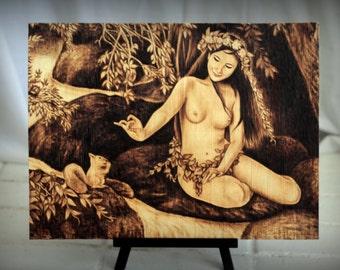 Squirrel and Virgin, original woodburned, nudity, naked, pyrography