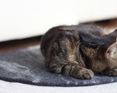 Felted dark grey cat mat/ bed/ rug/ pad/ sleeping place