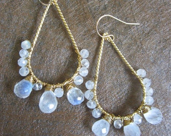 Teardrop Hoop Earrings, Hand wired wrapped Rainbow Moonstone, Gold teardrop, Wire wrapped jewelry.