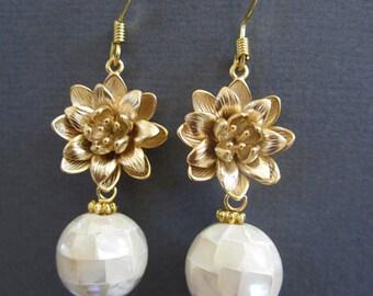 Gold Lotus Flower earrings, Pearl Earrings, Large Mother of Pearl earrings, Wedding, Mothers day gift.