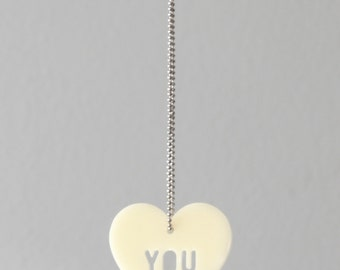 Necklace, Heart, Love, ivory