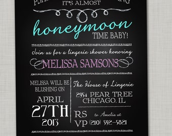 Chalkboard lingerie shower invitations Bachelorette party invites Hens party Funny lingerie shower invitation Forget the wedding