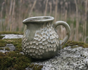 Pitcher, Wood Fired, Stoneware Ceramic Pottery, Creamer, Sauce, Syrup, 12 ounces