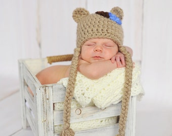 Newborn/Taupe with blue and brown hearts Little Bear Hat/Baby Photo Prop