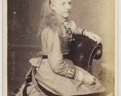 Victorian antique CDV photograph of well-dressed girl