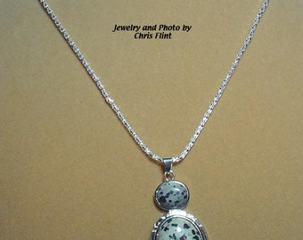 """Lovely 2-Stone Dalmation Jasper Pendant on 18"""" Silver Plated Chain - N203"""