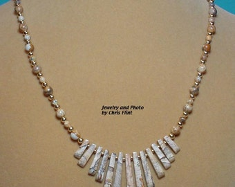 """Earthy Picture Jasper fan necklace.  20"""" of Natures beauty here! - N185"""