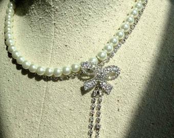 Anna Karenina Crystal Bow Necklace