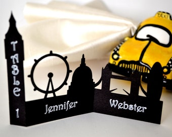 London Skyline Silhouette Place Cards - Set of 25
