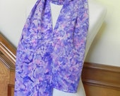 Long Hand Dyed Silk Scarf in Purple, Violet and Magenta, Crepe de Chine Scarf #459, Gift under 50, Ready to Ship