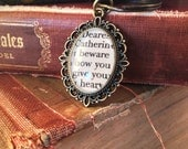 Jane Austen Northanger Abbey Antiqued Bronze Book Page Keychain or Key Ring Dearest Catherine beware how you give your heart