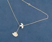 Bird Necklace with Leaf - Sparrow Necklace - Gold Lariat - Gold Filled Chain - Gifts - Bird Necklace, Nature, Gift for Hewith Leaf Lariat r