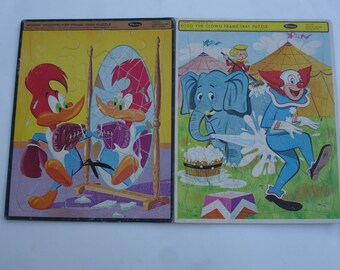 Vintage Frame-Tray Puzzles  Woody Woodpecker & Bozo the Clown