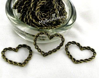 Large Brass Braided Heart Connector - Beads Jewelry Supplies Crafting Supplies Jewelry Making