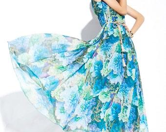 Summer dress Loose fitting Long Sundress Maxi Dress C084