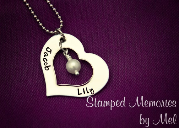 Mommy Necklace - Hand Stamped Stainless Steel Heart - Pearl Accent - Personalized Mother's Day Gift