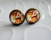 Round stud earrings - Vintage Style Cartoon Bambi - vintage-style Golden Book Bambi design bronze and glass stud post earrings