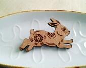 Wooden Brooch - Fabulous folk art style run rabbit run wooden brooch