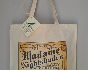 Paris Tote Bag Beauty Tonic Eco friendly cotton canvas Tea Stained