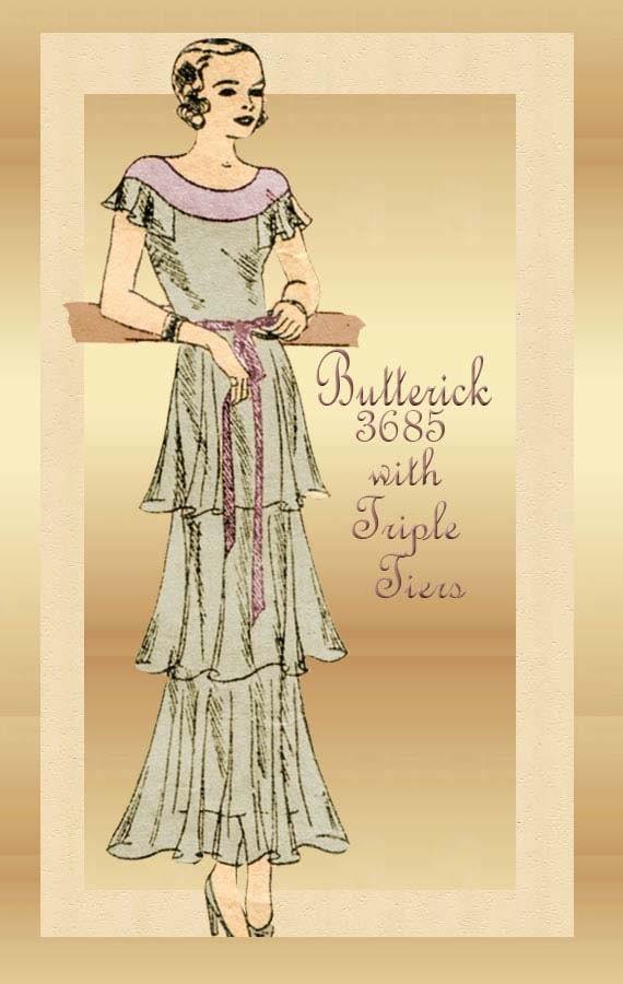 1930s Dress Pattern Butterick 3685 Vintage After Five Evening