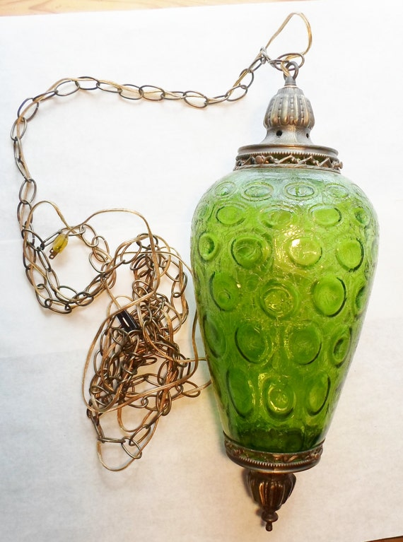 Vintage 60 S 70 S Swag Light Green Crackly Glass