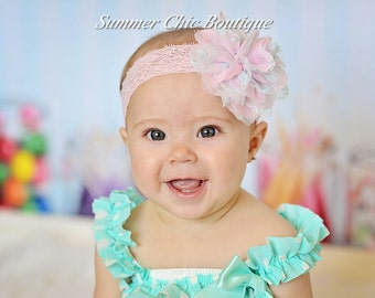 Baby Headband, Infant Headband, Toddler Headband, Pink Headband, Headband, Light Pink and Light Blue Frayed Chiffon and Lace Flower Headband