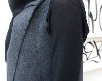Soft Grey High Quality Kasha Fabric Sleeveless Coat / Extravagant Vest  A07086
