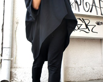 Oversized Loose Extra Large Black Blouse / Asymmetric Tunic Top A01103