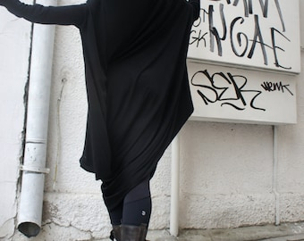 Oversize Black Loose Casual Top / Asymmetric Raglan Long Sleeves Tunic  / Maxi Blouse A02044